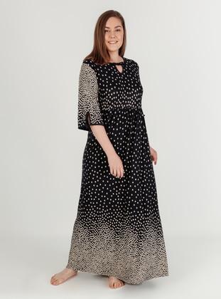 Black - Polka Dot - Plus Size Pyjamas