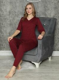 Red - V neck Collar - Multi - Pyjama Set