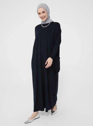 Navy Blue - Crew neck - Unlined - Modest Dress