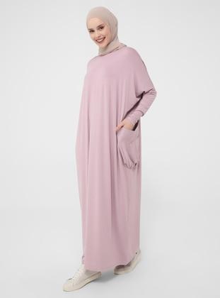 Pink - Rose - Crew neck - Unlined - Modest Dress