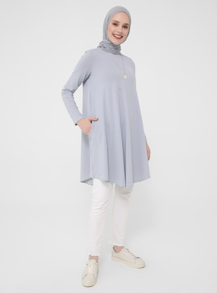 Gray - Blue - Stripe - Crew neck - Tunic