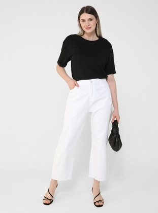 White - Ecru - Plus Size Pants