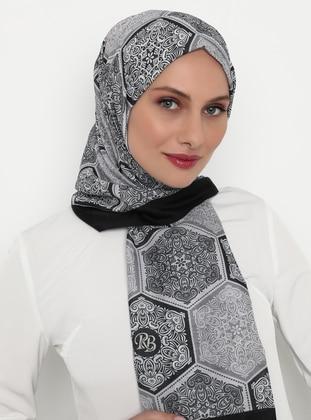 Gray - Black - Printed - Shawl