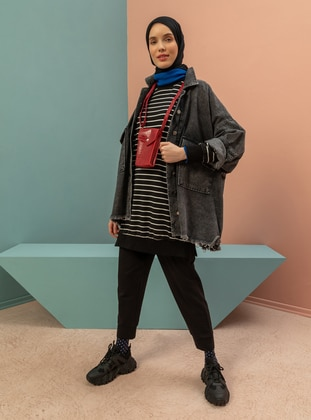 Gray - Unlined - V neck Collar - Jacket