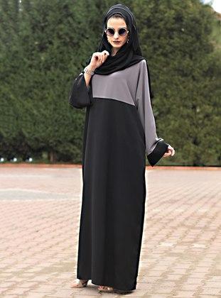 Gray - Black - Unlined - Crew neck - Abaya - Gabra