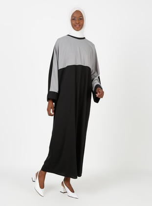 Gray - Black - Unlined - Crew neck - Abaya