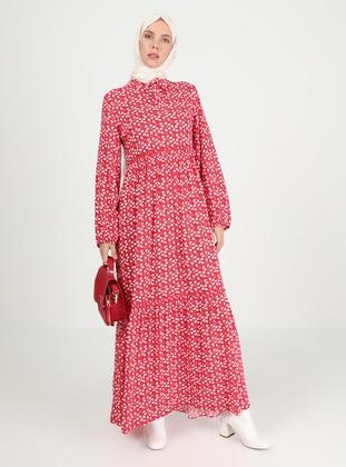 Red - Heart Print - Crew neck - Unlined - Modest Dress