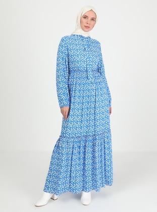 Saxe - Heart Print - Crew neck - Unlined - Modest Dress