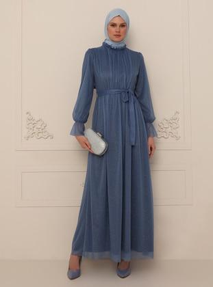 Indigo - Silvery - Fully Lined - Crew neck - Modest Evening Dress