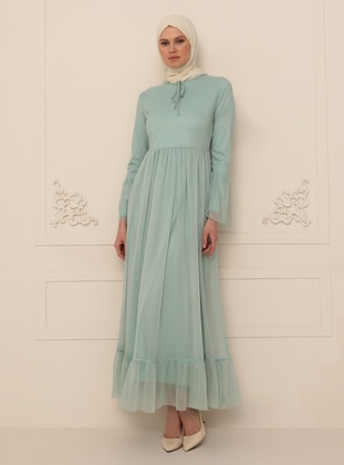 Mint - Silvery - Fully Lined - Crew neck - Modest Evening Dress