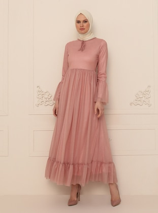 Powder - Silvery - Fully Lined - Crew neck - Modest Evening Dress