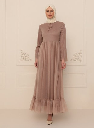 Mink - Silvery - Fully Lined - Crew neck - Modest Evening Dress