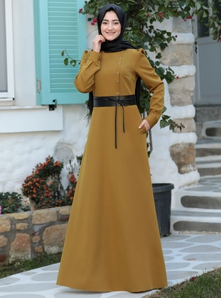 Olive Green - Unlined - Crew neck - Modest Evening Dress