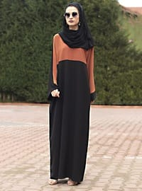Terra Cotta - Black - Unlined - Crew neck - Abaya
