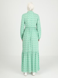 Green - Heart Print - Crew neck - Unlined - Modest Dress