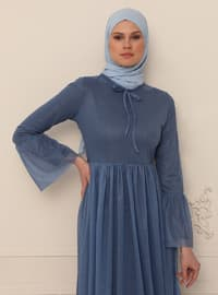 Indigo - Silvery - Fully Lined - Crew neck - Modest Evening Dress