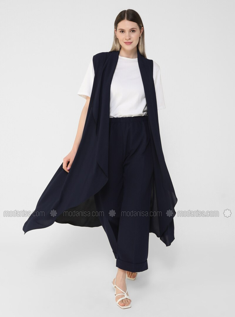 Navy Blue - Unlined - Plus Size Coat