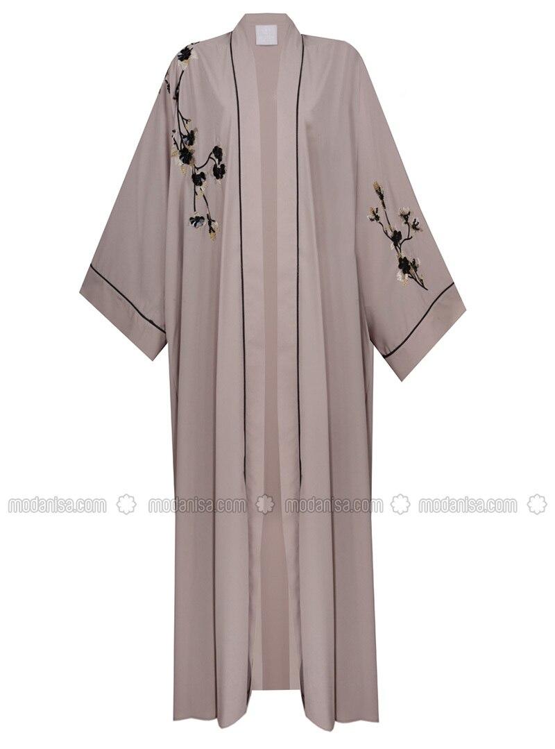 Beige - Multi - Unlined - Abaya