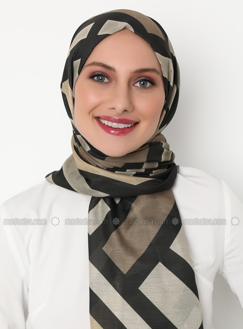 Khaki - Brown - Printed - Shawl