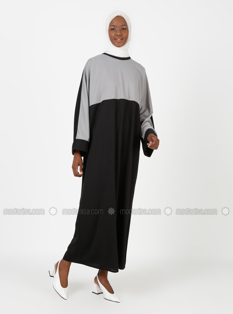 Gray - Black - Unlined - Crew neck - Abaya
