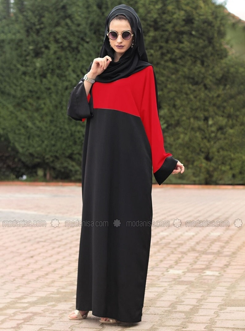 Red - Black - Unlined - Crew neck - Abaya