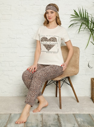 Cream - Crew neck - Multi - Pyjama Set