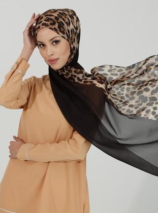 Black - Leopard - Shawl
