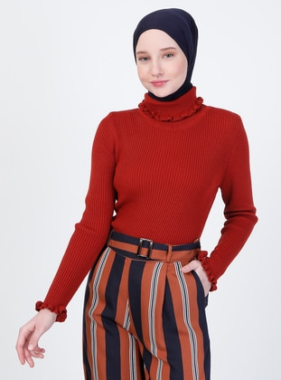 Terra Cotta - Unlined - Polo neck - Knit Sweaters
