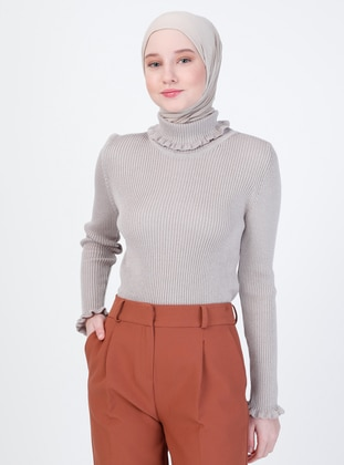 Mink - Unlined - Polo neck - Knit Sweaters