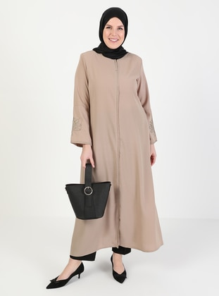 Beige - Crew neck - Unlined - Plus Size Abaya