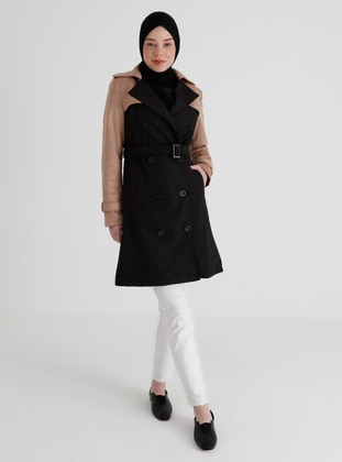 Black - Mink - Fully Lined - Shawl Collar - Trench Coat