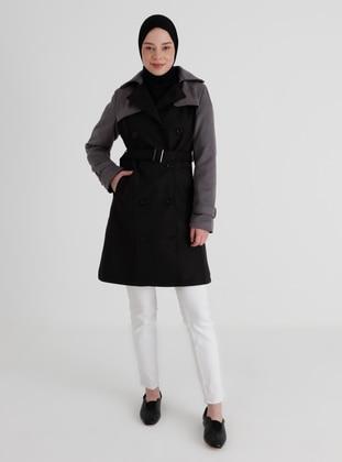 Gray - Black - Fully Lined - Shawl Collar - Trench Coat