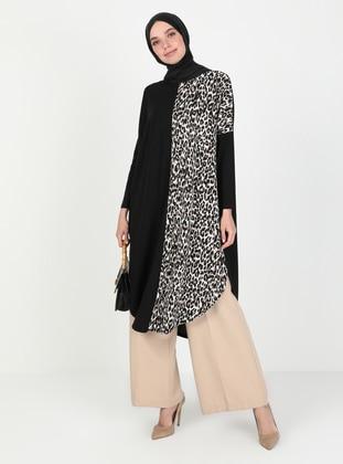 Black - Leopard - Crew neck - Tunic