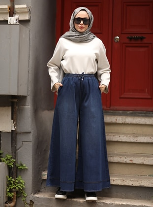 Navy Blue - Blue - Culottes