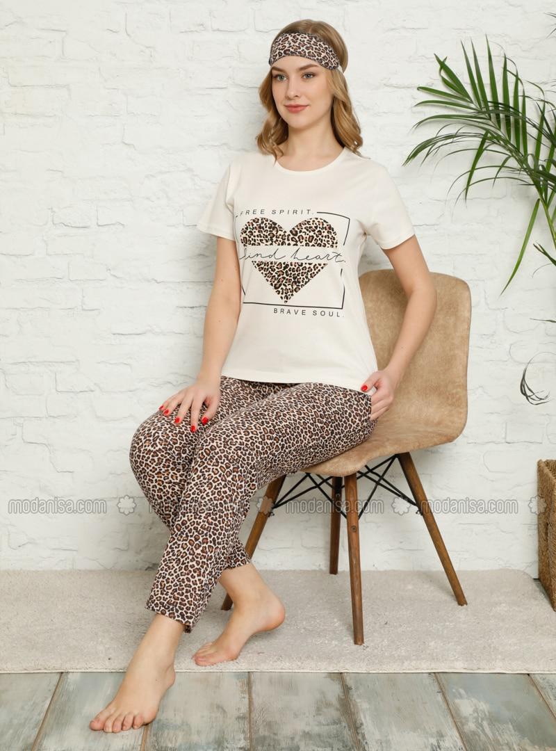 Cream - Crew neck - Multi - Pyjama Set
