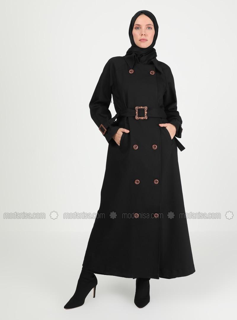 Black - Unlined - V neck Collar - Trench Coat