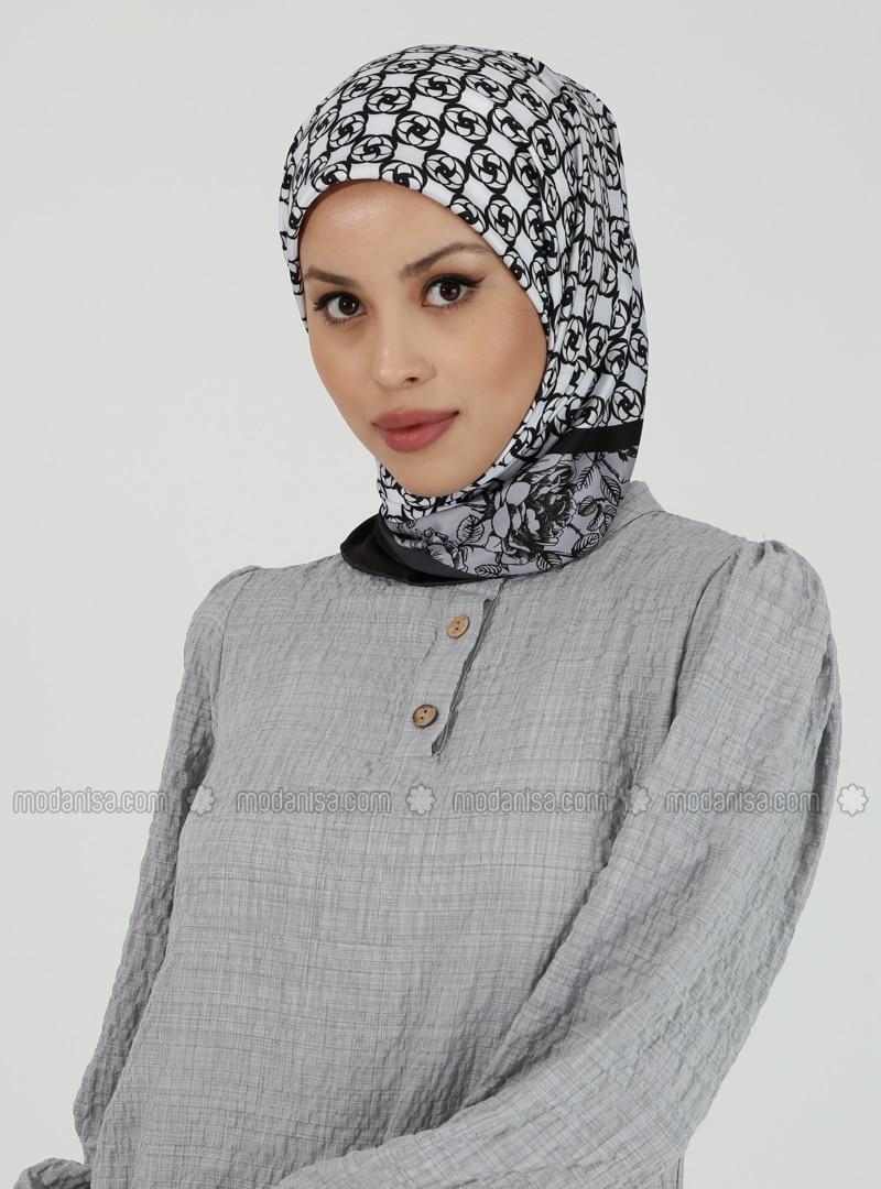 White - Gray - Printed - Scarf