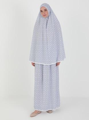 Blue - Floral - Unlined - Suit - Hal-i Niyaz