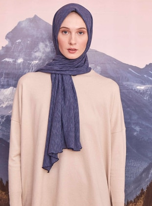 Navy Blue - Striped - Shawl