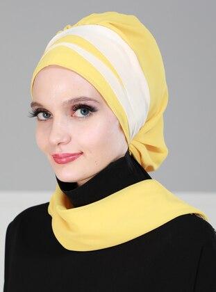 Cream - Yellow - Plain - Shawl
