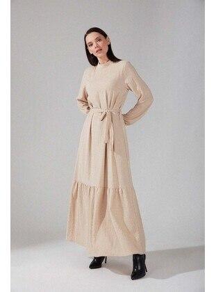 Beige - Multi - Crew neck - Modest Dress