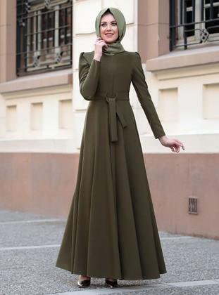 Khaki - Unlined - Crew neck - Modest Evening Dress