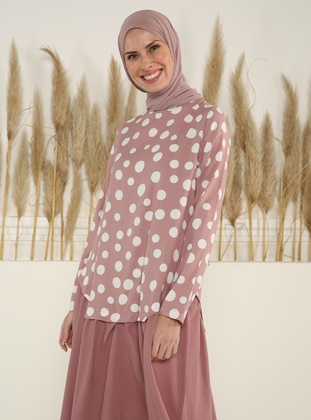 Dusty Rose - Polka Dot - Crew neck - Unlined - Modest Dress