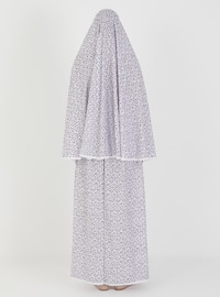 Purple - Floral - Unlined - Suit - Hal-i Niyaz