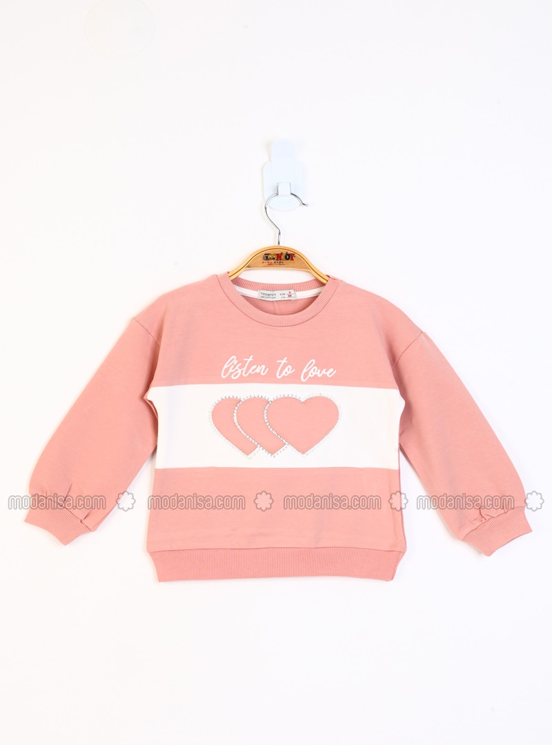 Traverse - Crew neck - Unlined - Salmon - Girls` Sweatshirt