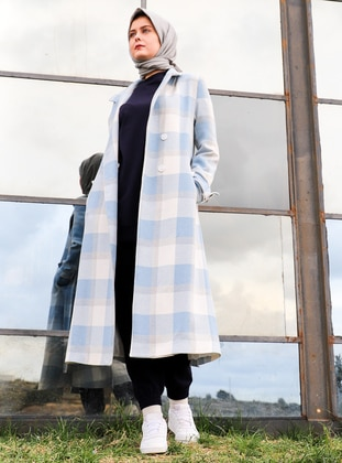 Blue - Plaid - Fully Lined - Coat