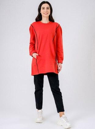Crew neck - Multi - Cotton - Crew neck - Terra Cotta - Sweat-shirt