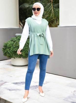 Unlined - Green Almond - Knit Sweater - Por La Cara