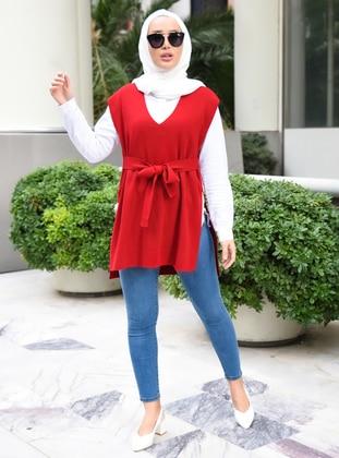 Unlined - Red - Knit Sweater - Por La Cara