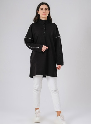 Crew neck - Multi - Cotton - Polo neck - Black - Sweat-shirt